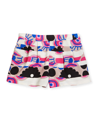 Pleated Floral Stripe Shorts, Multicolor, Size 8-14