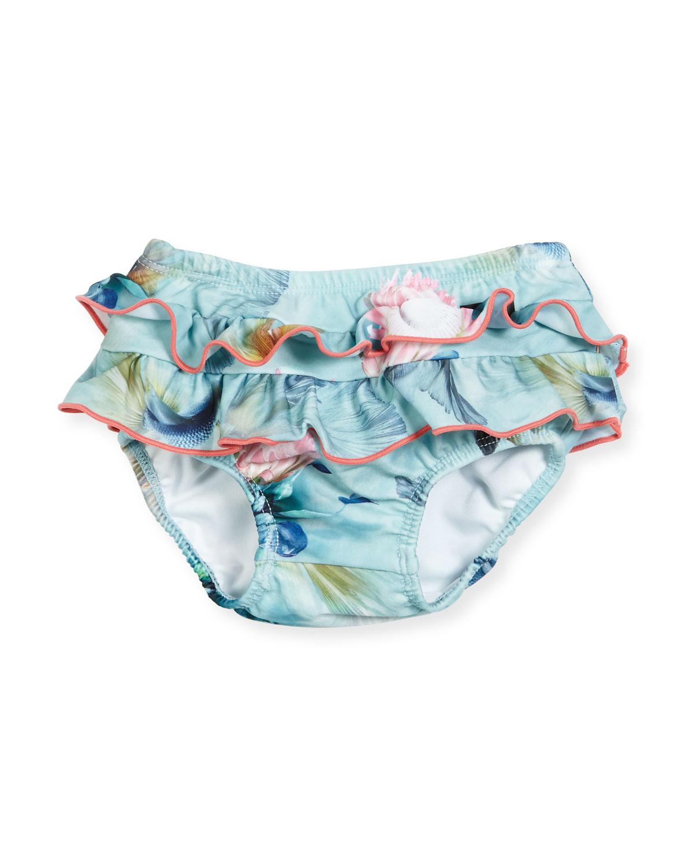 Neena Ruffled Fishpond Swim Bottom, Blue Pattern, Size 3-24 Months