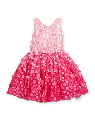 Sleeveless 3D Floral Tulle Dress, Pink, Size 7-16