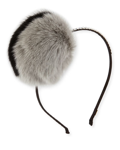 Girls' Rhinestone & Fox Fur Headband, Multicolor