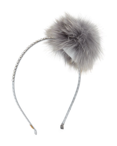 Girls' Rhinestone & Fox Fur Headband, Silver