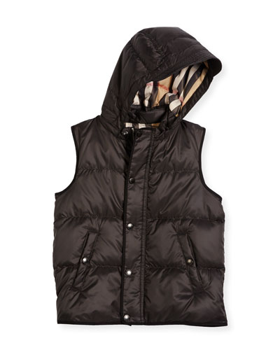Carlton Hooded Puffer Vest, Charcoal Gray, Size 4-14