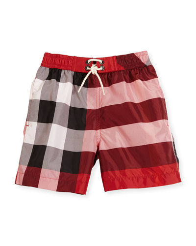 Jeffries Check Swim Trunks, Red, Size 4-14