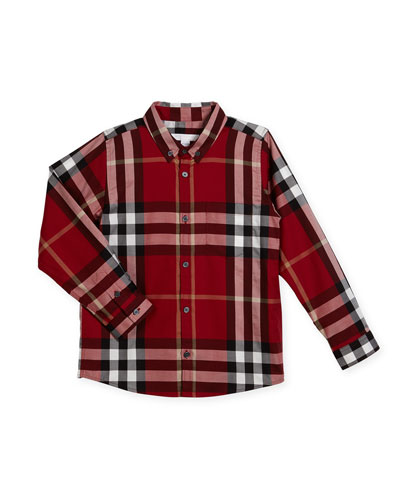 Fred Short-Sleeve Check Shirt, Parade Red, Size 4-14