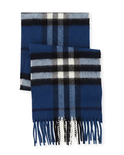Kid's Check Cashmere Scarf, Blue