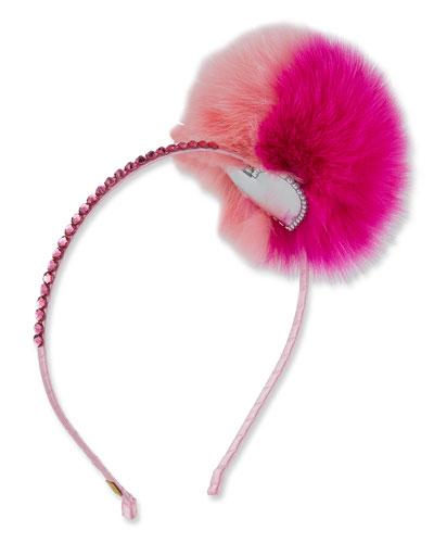Rhinestone & Fox Fur Pompom Headband, Pink
