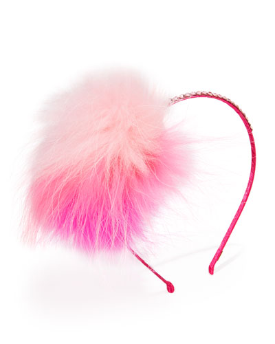 Rhinestone & Fox Fur Headband, Pink