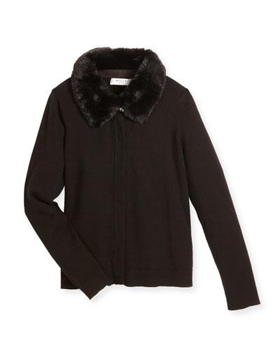 Faux-Fur-Trim Jersey Sweater, Black, Size 8-14
