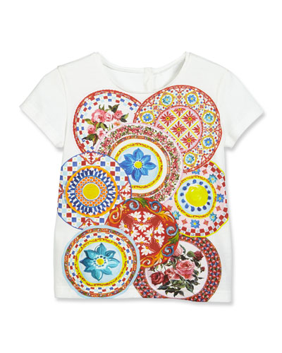 Mambo Plate Short-Sleeve Jersey Tee, Multicolor, Size 8-12