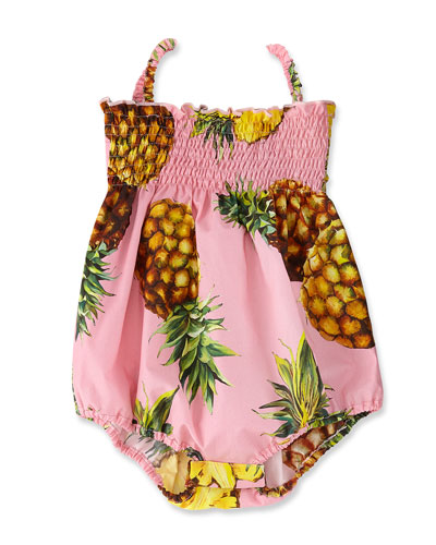 Shirred Poplin Pineapple Playsuit, Pink, Size 6-24 Months
