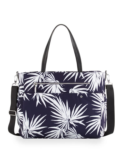 Palm-Print Diaper Bag, Navy