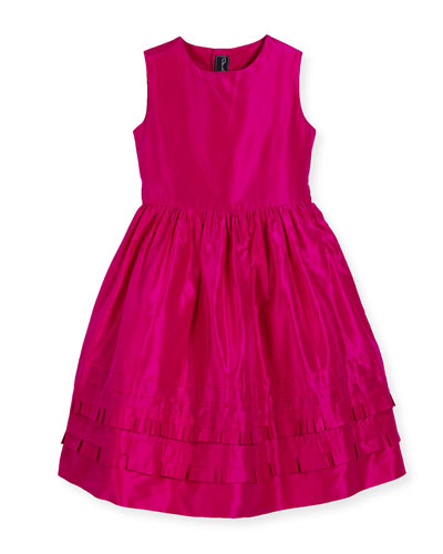 Sleeveless Tiered Silk Taffeta Party Dress, Pink, Size 4-14