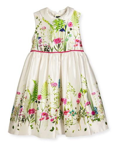 Sleeveless Collared Botanical Flora Mikado Dress, Multicolor, Size 3-8