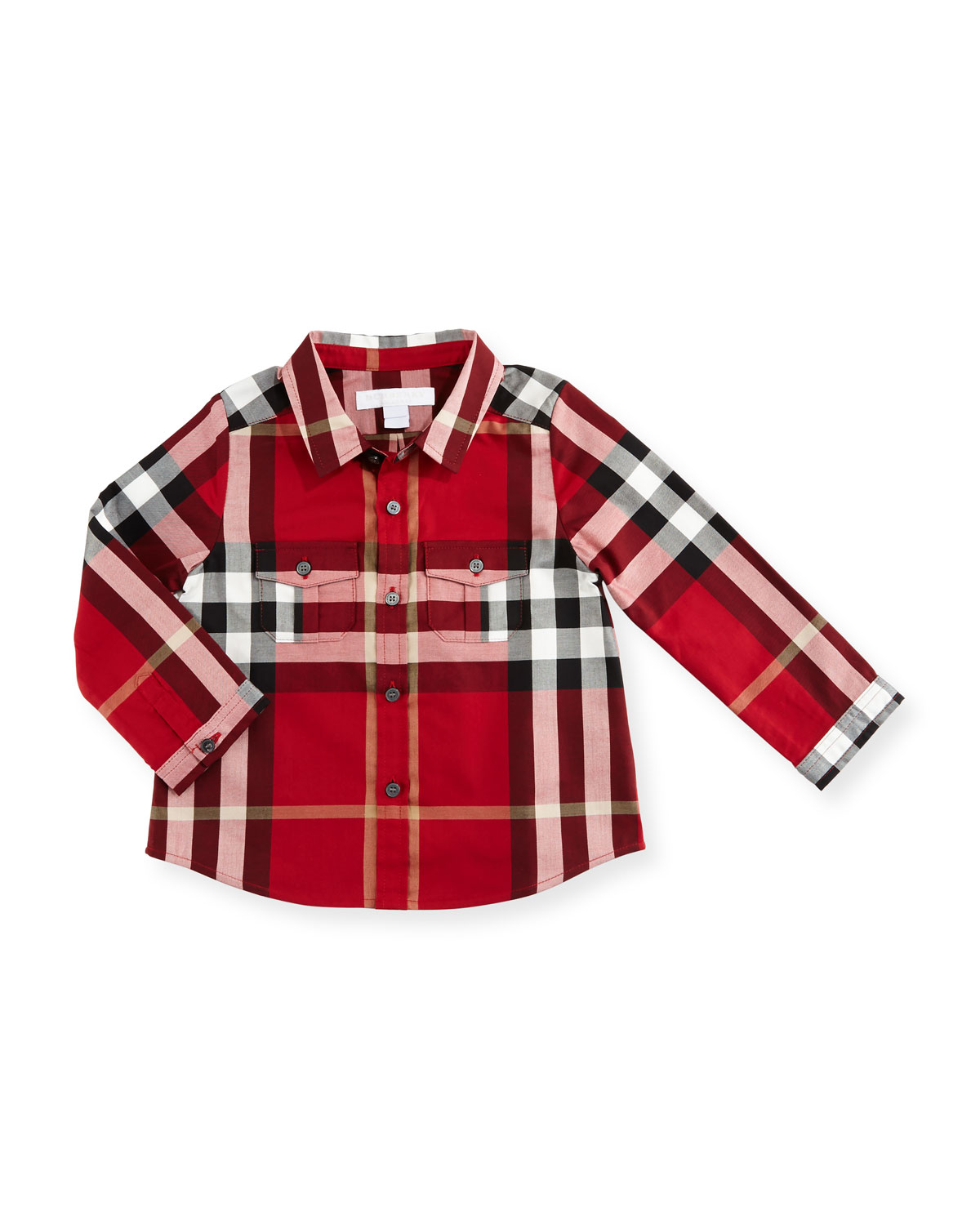 Trent Long-Sleeve Check Poplin Shirt, Red, Size 6M-3