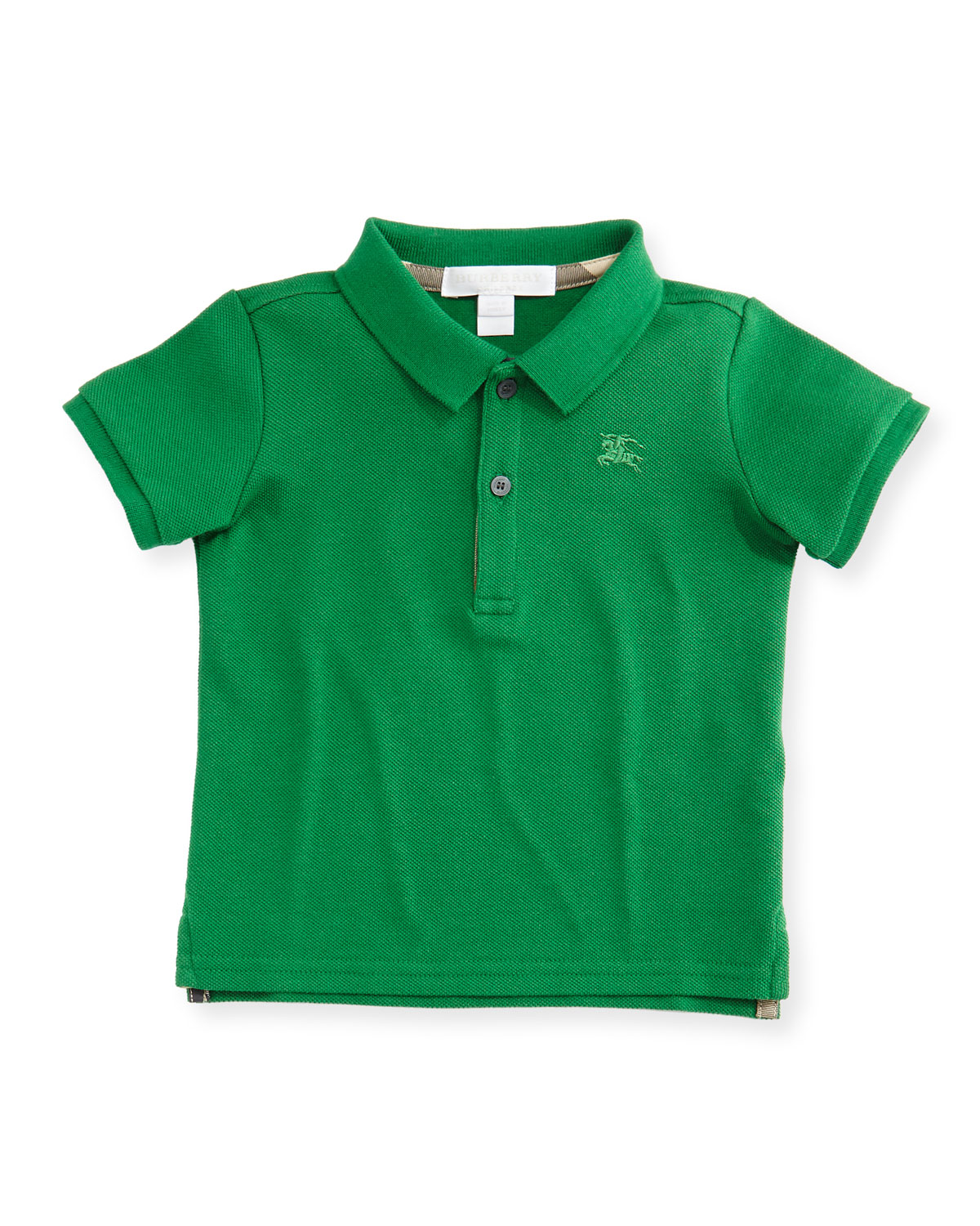 Palmer Short-Sleeve Pique Cotton Polo Shirt, Green, Size 6M-3