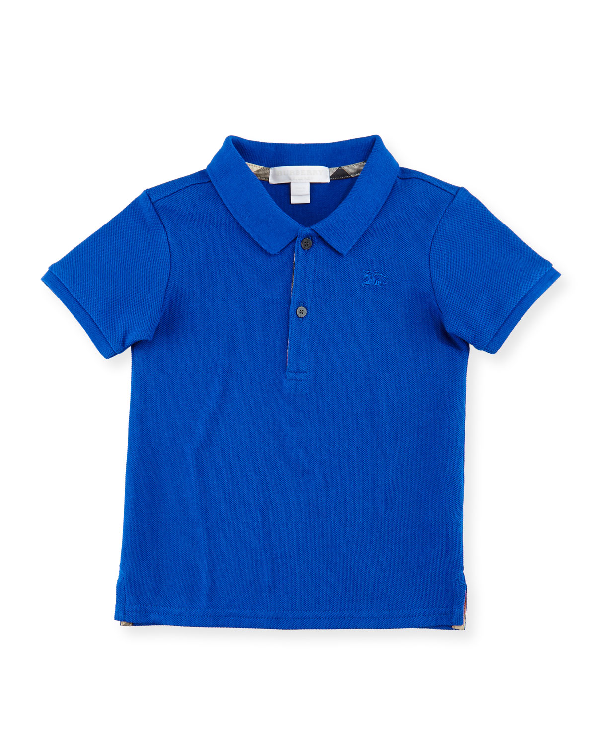Palmer Short-Sleeve Pique Cotton Polo Shirt, Blue, Size 6M-3