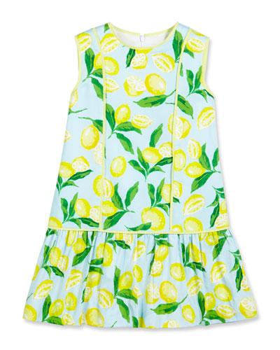 Painted Lemons Poplin Shift Dress, Yellow, Size 4-14