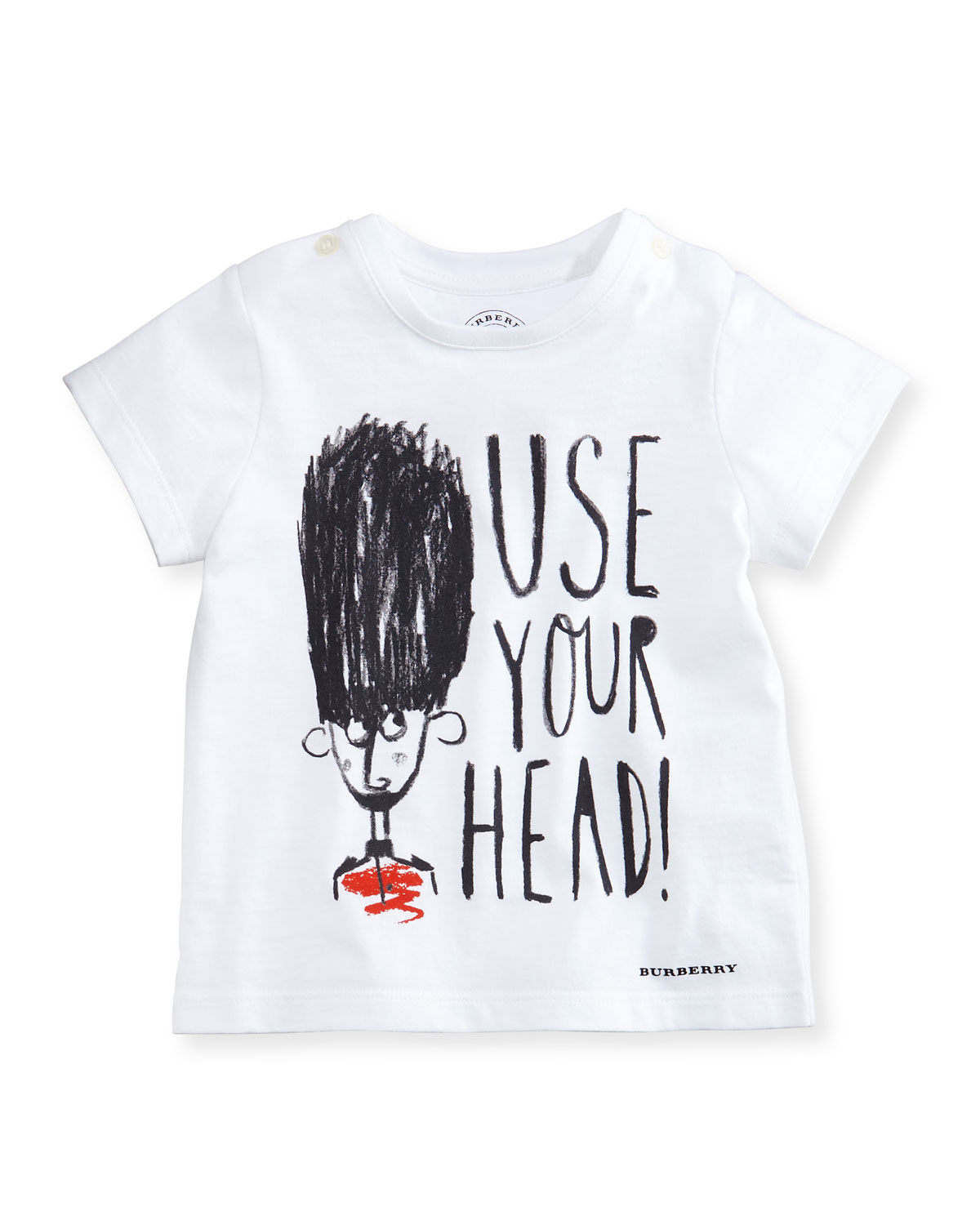 Use Your Head Crewneck Jersey Tee, White, Size 6M-3