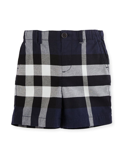Sean Cotton Check Shorts, Navy, Size 6M-3