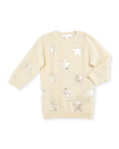 Kora Check Cashmere Sweater, Ivory, Size 6M-3