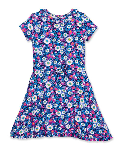 Blossom Vignette Fit-and-Flare Jersey Dress, Pink/Blue