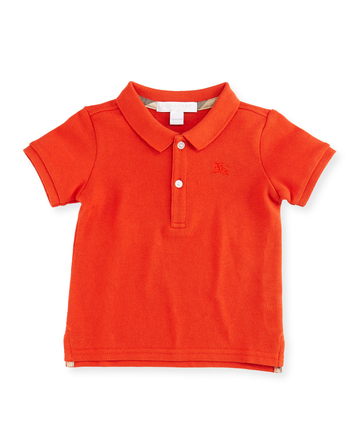 Palmer Short-Sleeve Pique Cotton Polo Shirt, Red-Orange, Size 6M-3