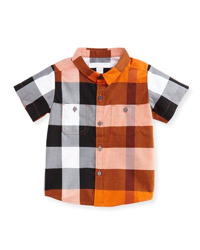 Mini Camber Short-Sleeve Check Shirt, Orange, Size 6M-3