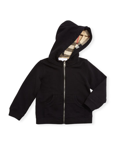 Pearce Hooded Fleece-Lined Sweater, Black, Size 6M-3