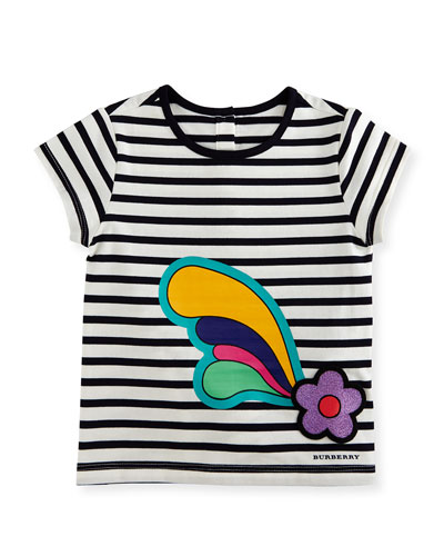 Cap-Sleeve Striped Flower Plume Jersey Tee, Multicolor, Size 12M-3