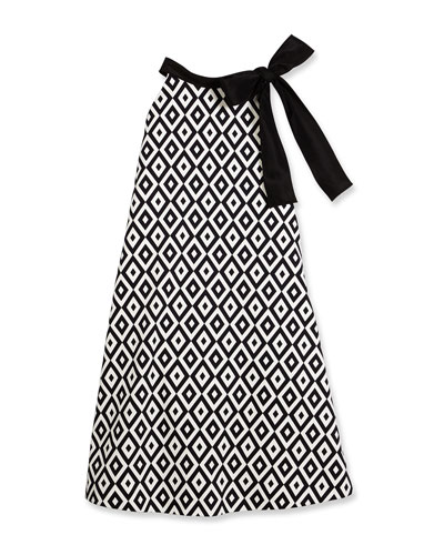 Sleeveless Geometric Swing Dress, Black/White, Size 7-14