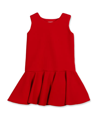 Sleeveless Stretch Pique Fit-and-Flare Dress, Red, Size 2-6