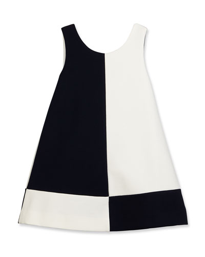 Sleeveless Ponte Colorblock Shift Dress, Dark Navy/White, Size 7-14