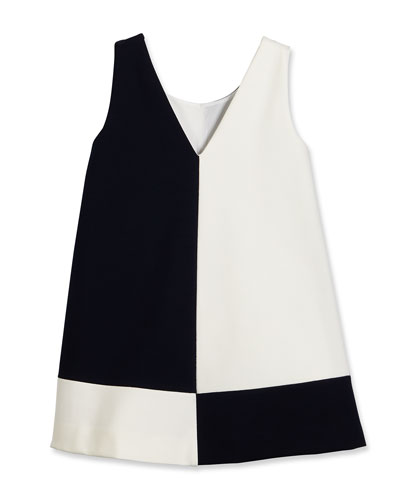 Sleeveless Ponte Colorblock Shift Dress, Dark Navy/White, Size 4-6