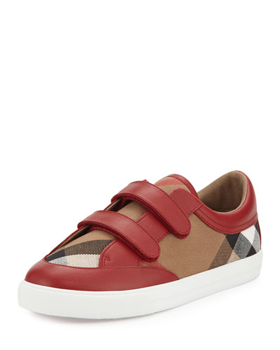 Heacham Check Canvas Sneaker, Red/Tan, Youth