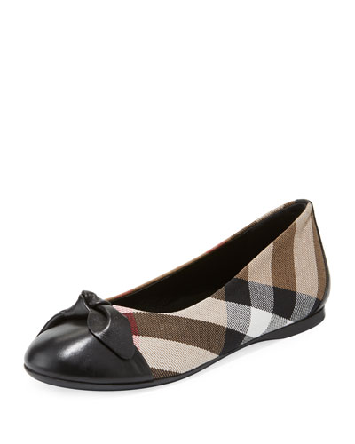 Yaxley Check Ballet Flat, Black, Toddler/Kid Sizes
