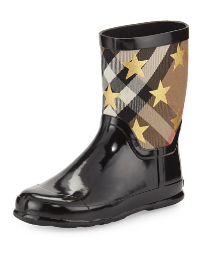 Ranmoor Metallic Star Rubber Rain Boot, Black, Toddler