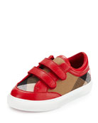Heacham Check Canvas Sneaker, Red/Tan, Infant Sizes 3-6 Months
