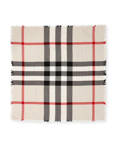 Kids' Square Check Wool Scarf, Neutral