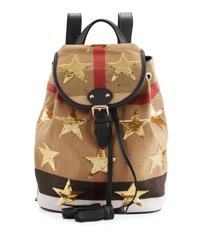 Kids' Check & Embellished Star Backpack, Black/Tan
