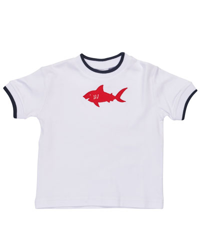 Tipped Jersey Shark Tee, White, Size 6-24 Months