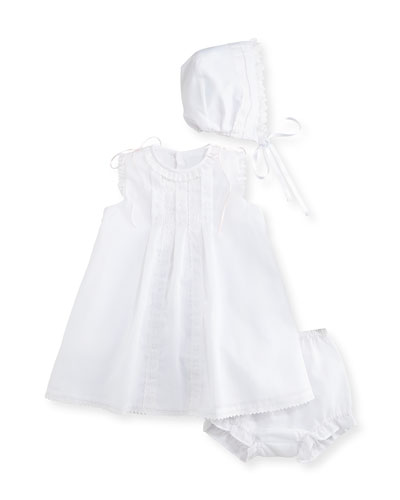 Sleeveless Organza Dress w/ Bonnet & Bloomers, Ivory, Size 3-24 Months