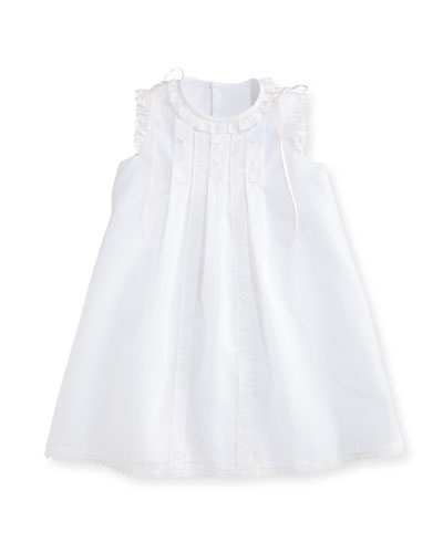 Sleeveless Organza Shift Dress, White, Size 2-4T