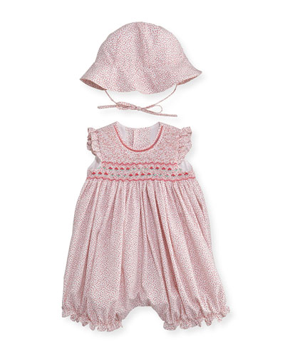 Sleeveless Floral Bubble Romper w/ Sun Hat, Pink, Size 3-24 Months