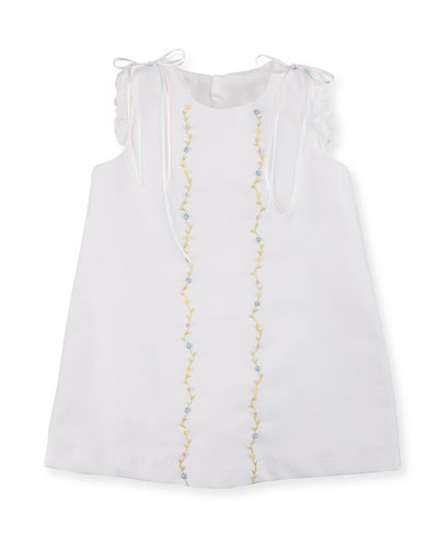Sleeveless Embroidered Pique Shift Dress, White, Size 2-4T