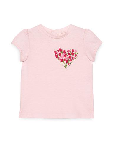 Cap-Sleeve Flowered Heart Jersey Tee, Pink, Size 9-36 Months