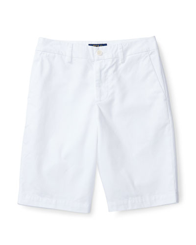 Cotton Twill Bermuda Shorts, White, Size 5-7