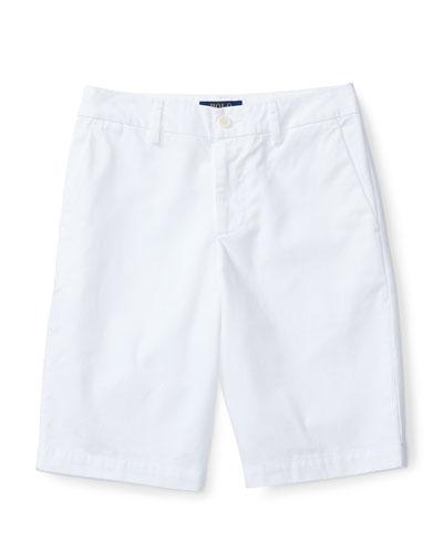 Cotton Twill Bermuda Shorts, White, Size 2-4