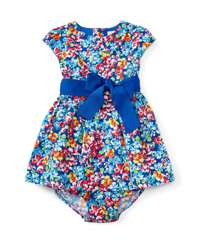 Cap-Sleeve Floral Fit-and-Flare Dress w/ Bloomers, Multicolor, Size 6-24 Months