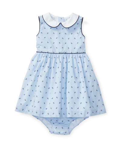 Sleeveless Striped Anchor Dress w/ Bloomers, Blue, Size 6-24 Months