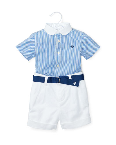 Short-Sleeve Striped Shirt w/ Belted Shorts, Blue, Size 6-24 Months